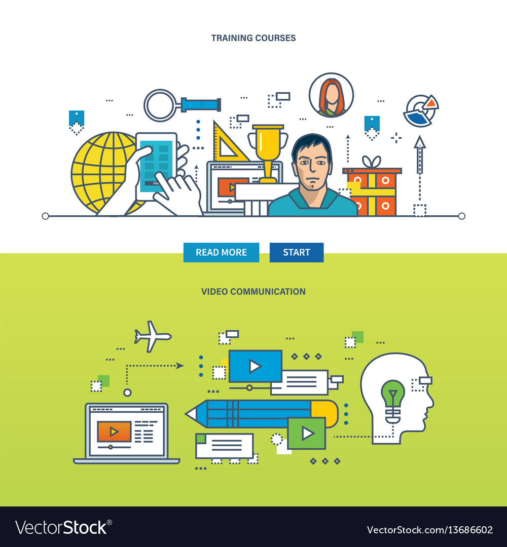 Concept - training courses and video vector image