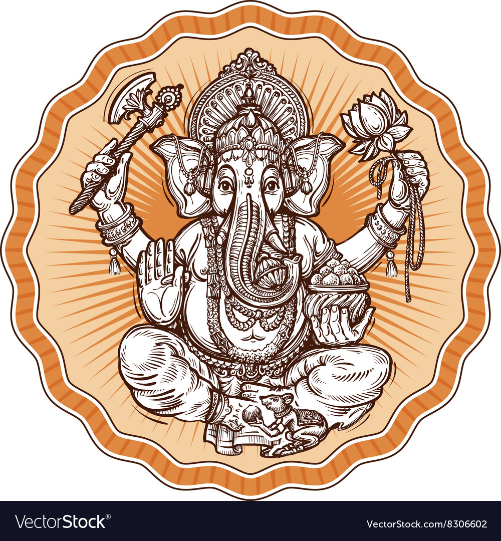 Ganesh Chaturthi hand-drawn sketch religious