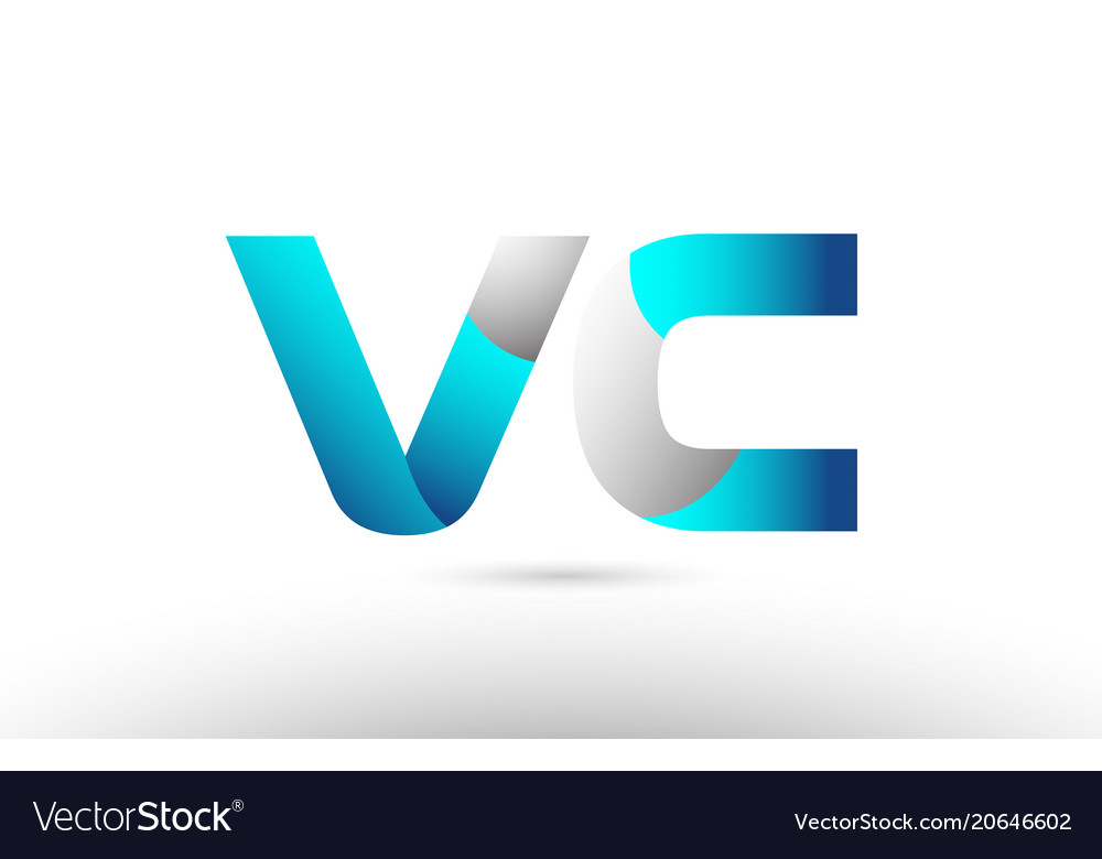 Grey blue alphabet letter vc v c logo 3d design Vector Image
