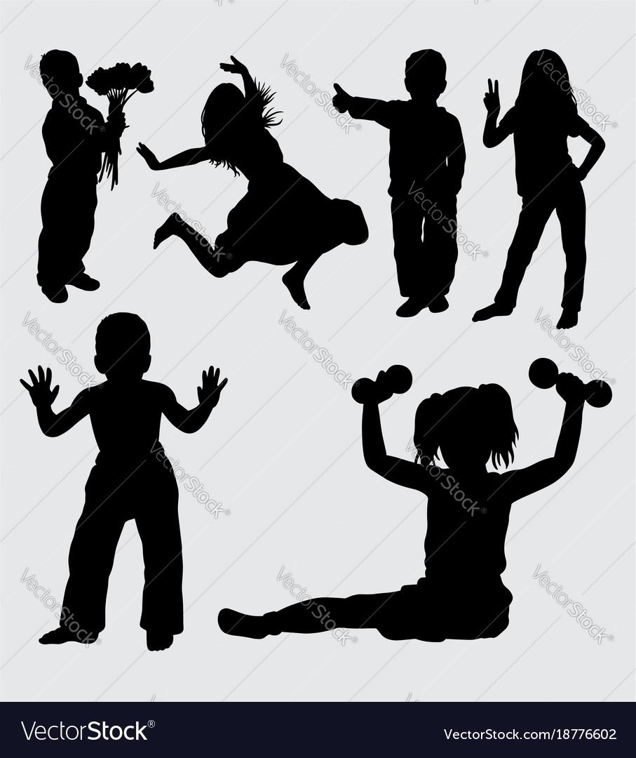 Kid gesture silhouette