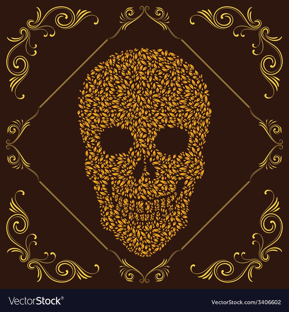 Leaf and Ornamental Skull