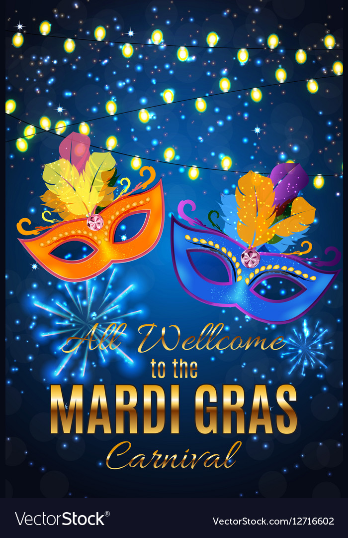 Mardi Gras Party Mask Holiday Poster Background