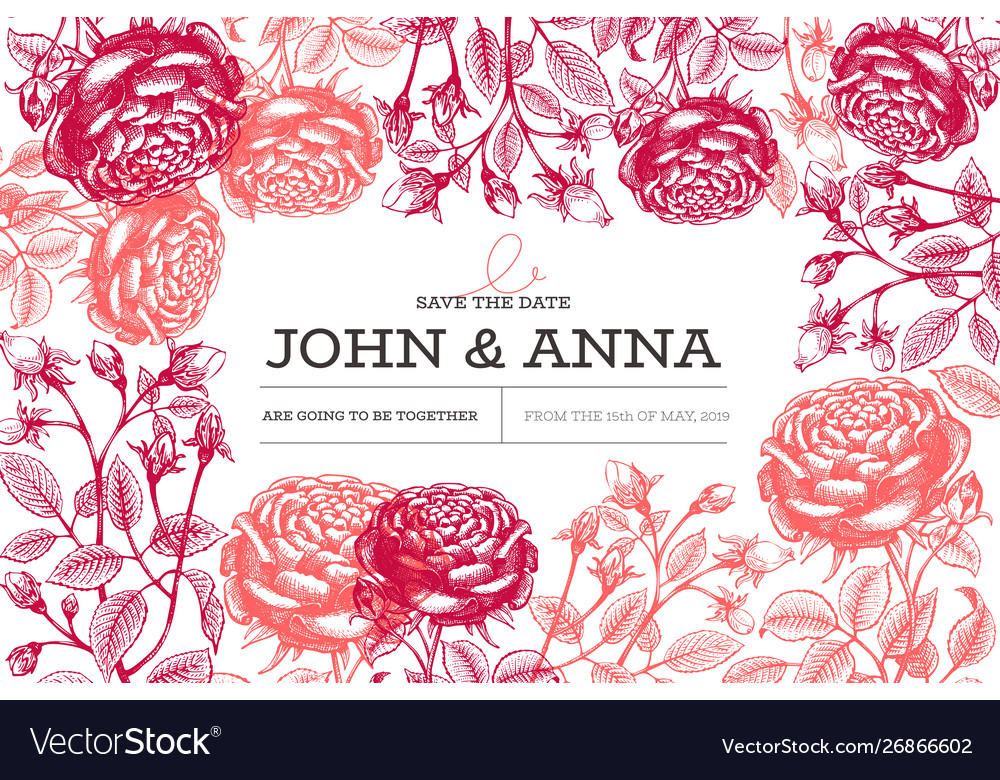 Roses flowers design template hand drawn
