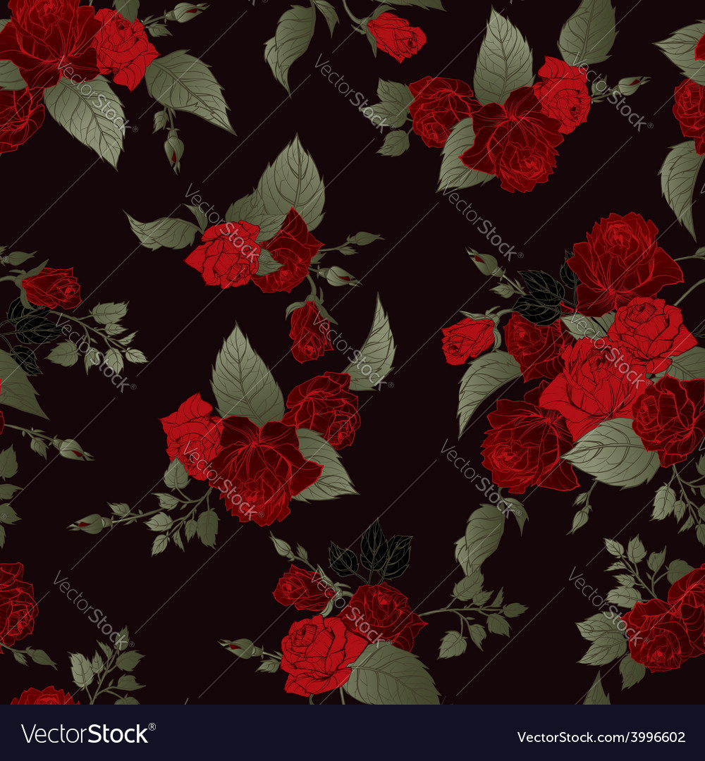 Seamless floral pattern with red roses on dark vector image