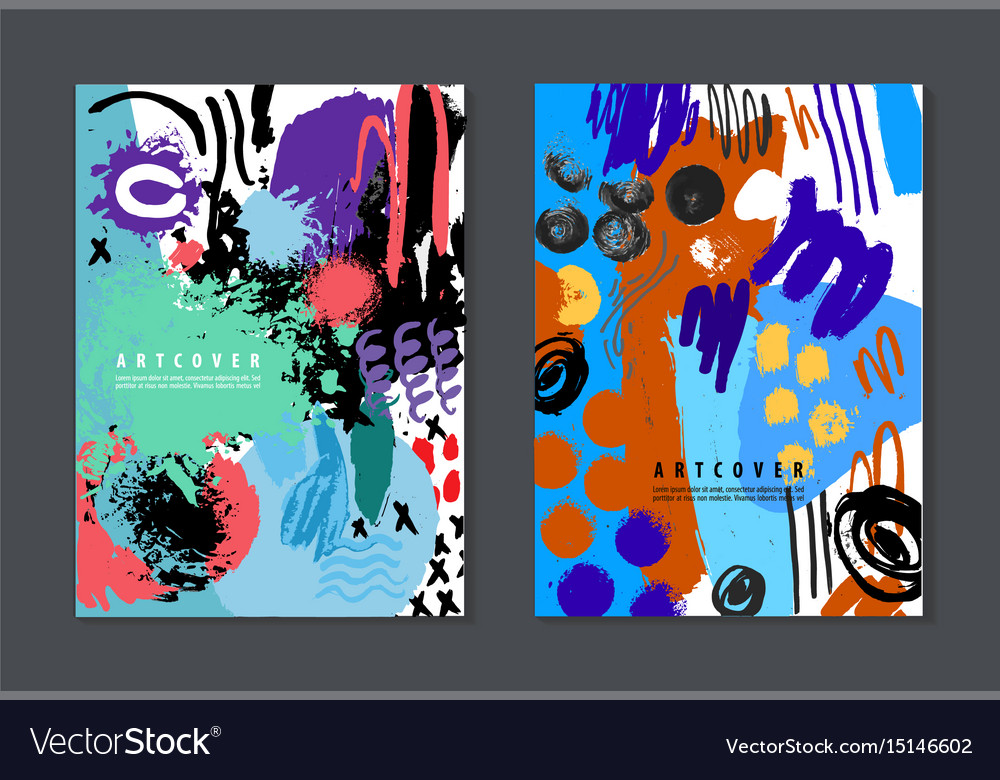 Set of colorful artistic creative cards