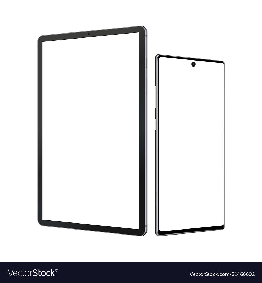 Tablet computer and smartphone mockup