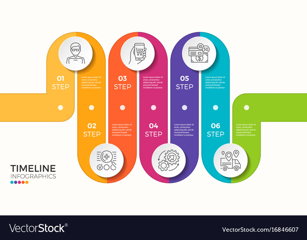 6 steps winding colorful timeline infographic