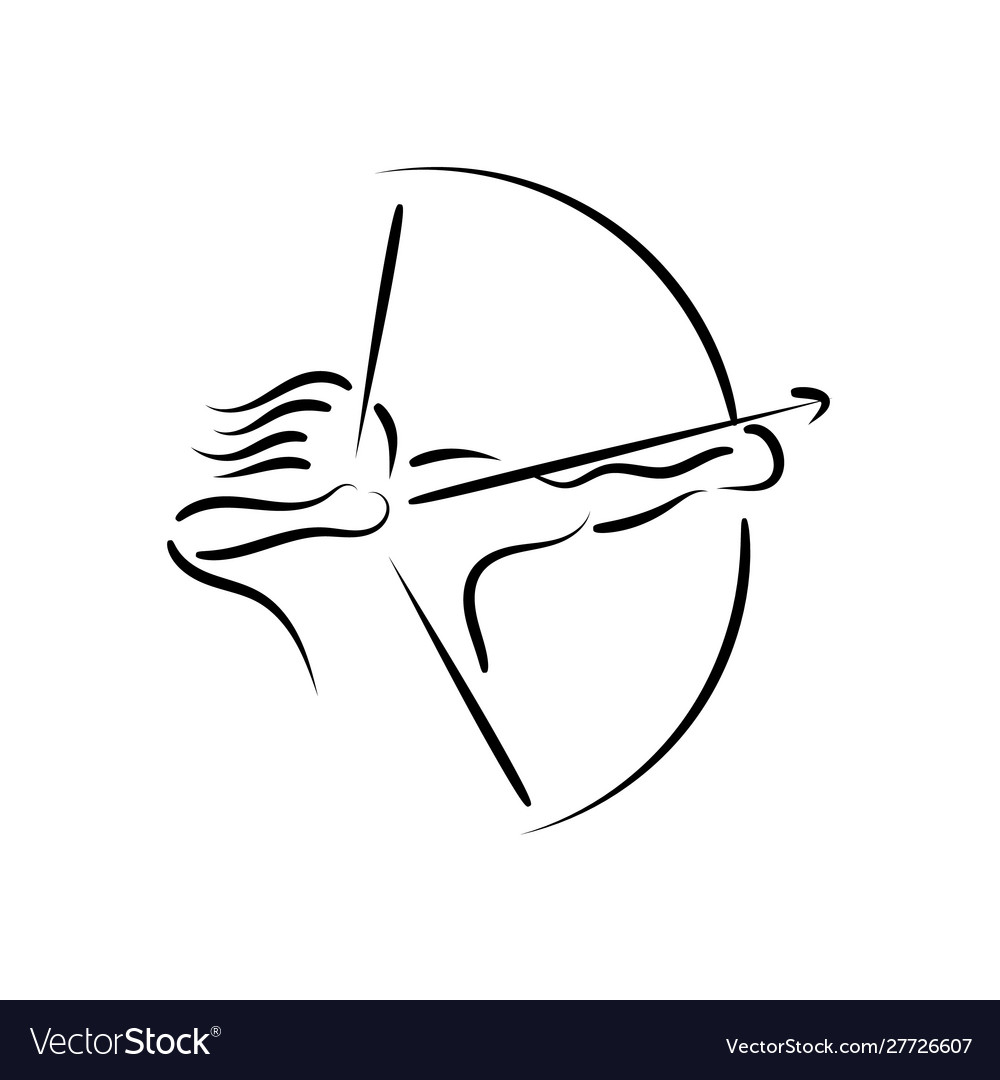 Abstract outline warrior archer silhouette