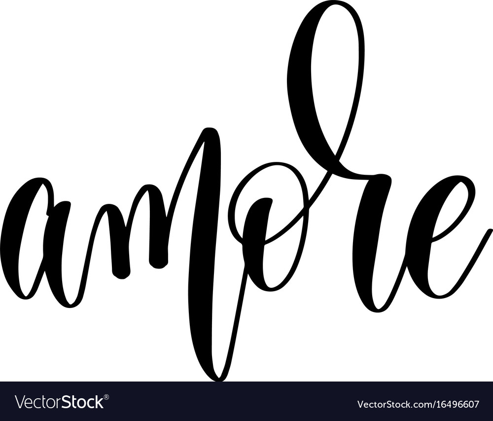 Amore - black and white hand lettering inscription vector image