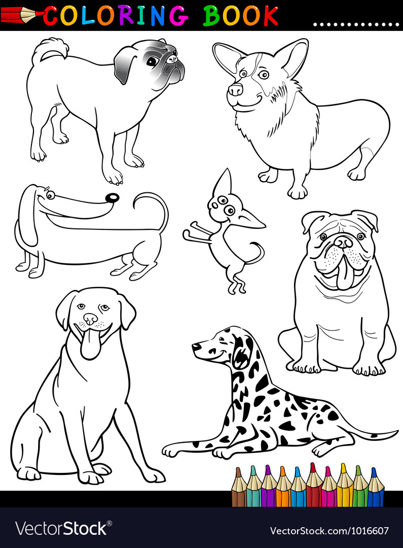 Cartoon Dogs for Coloring Book or Page Royalty Free Vector