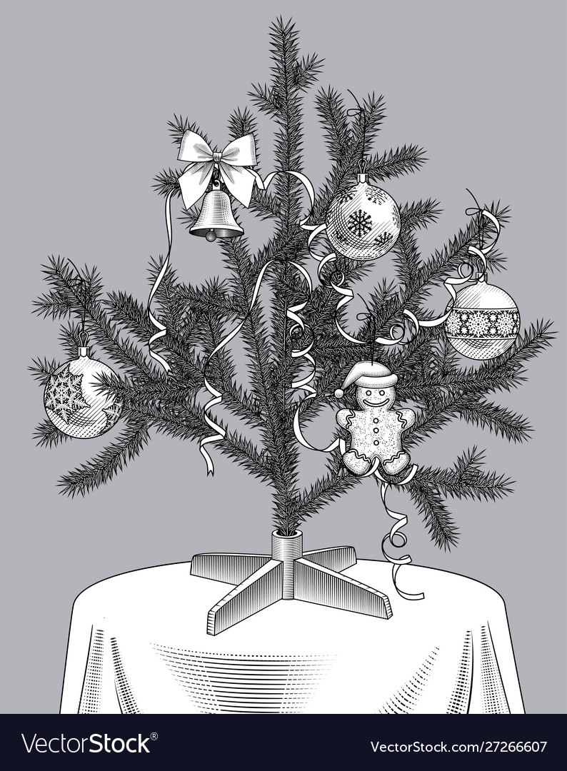 Christmas tree with ribbons and ornaments