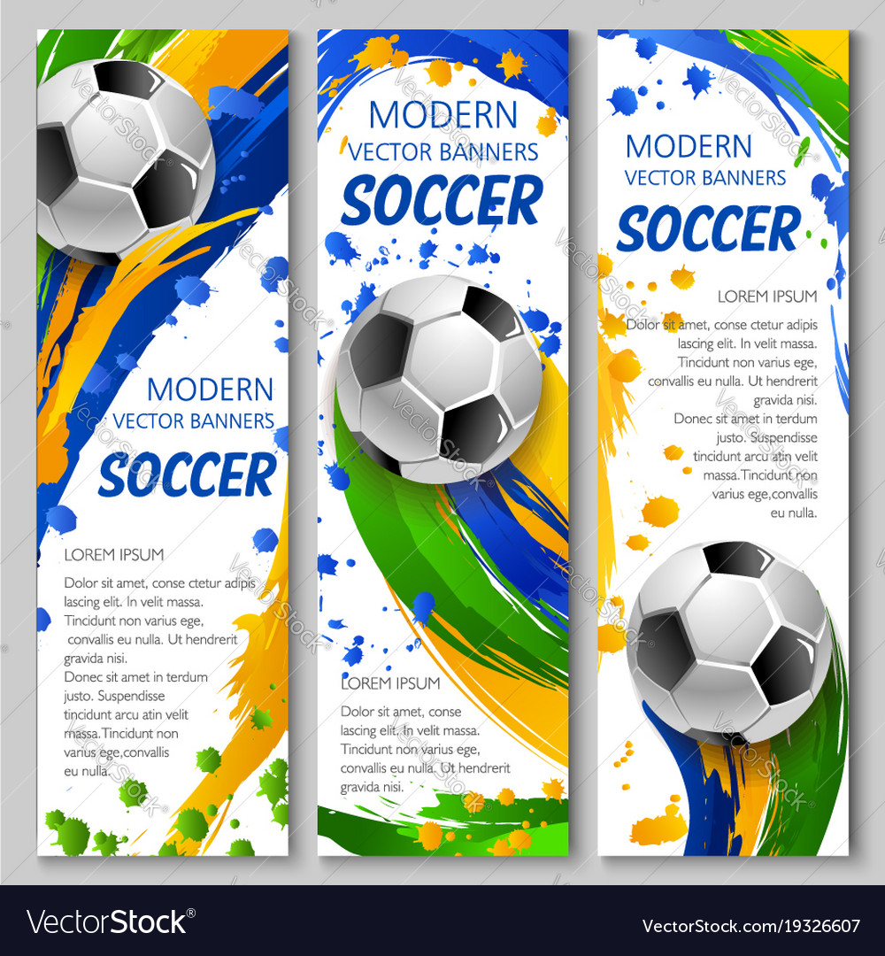 Colorful soccer banners for sport design