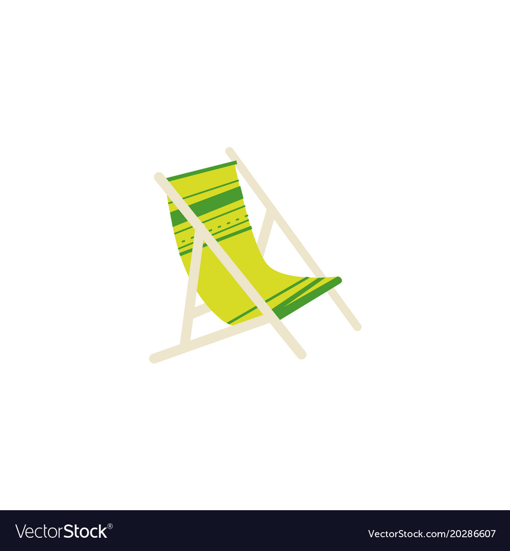 Flat cartoon striped lounge chair tanning bed