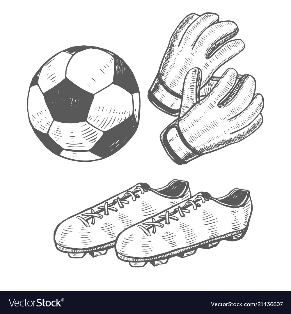 Football ball gloves and shoes in hand drawn style vector image