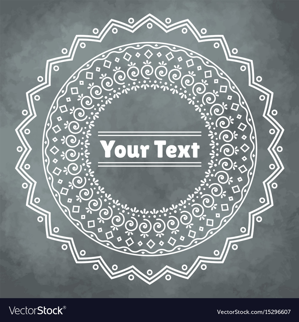 Mandala frame on grunge watercolor background vector image