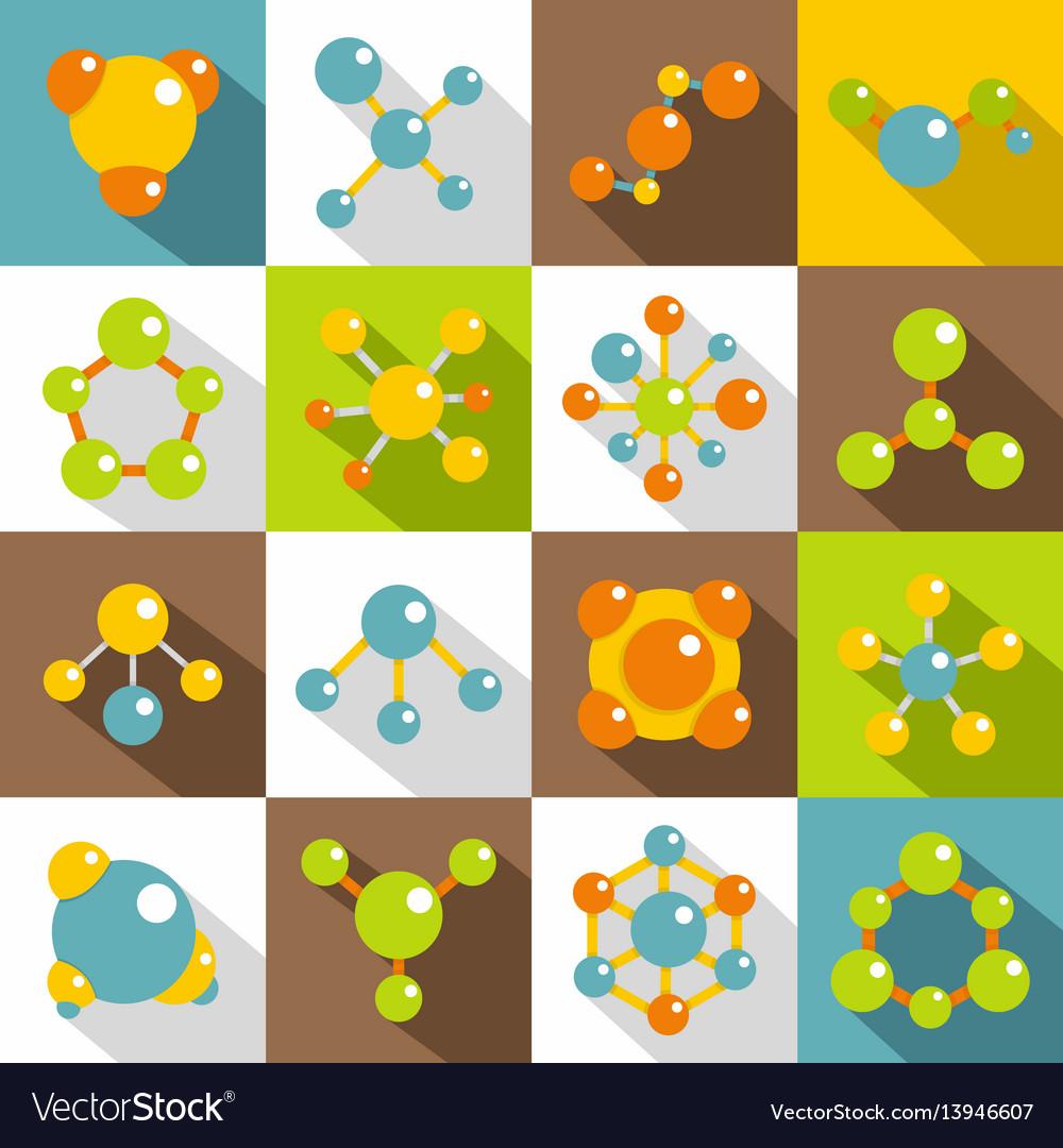Molecule icons set flat style vector image