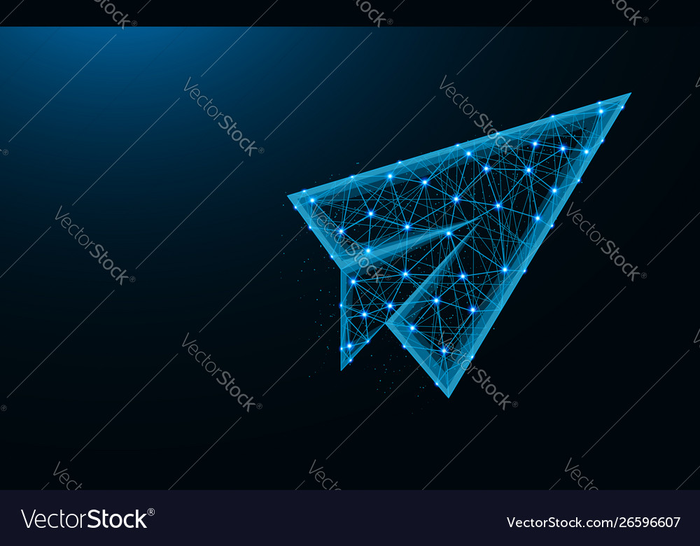 Paper airplane low poly design flight up abstract