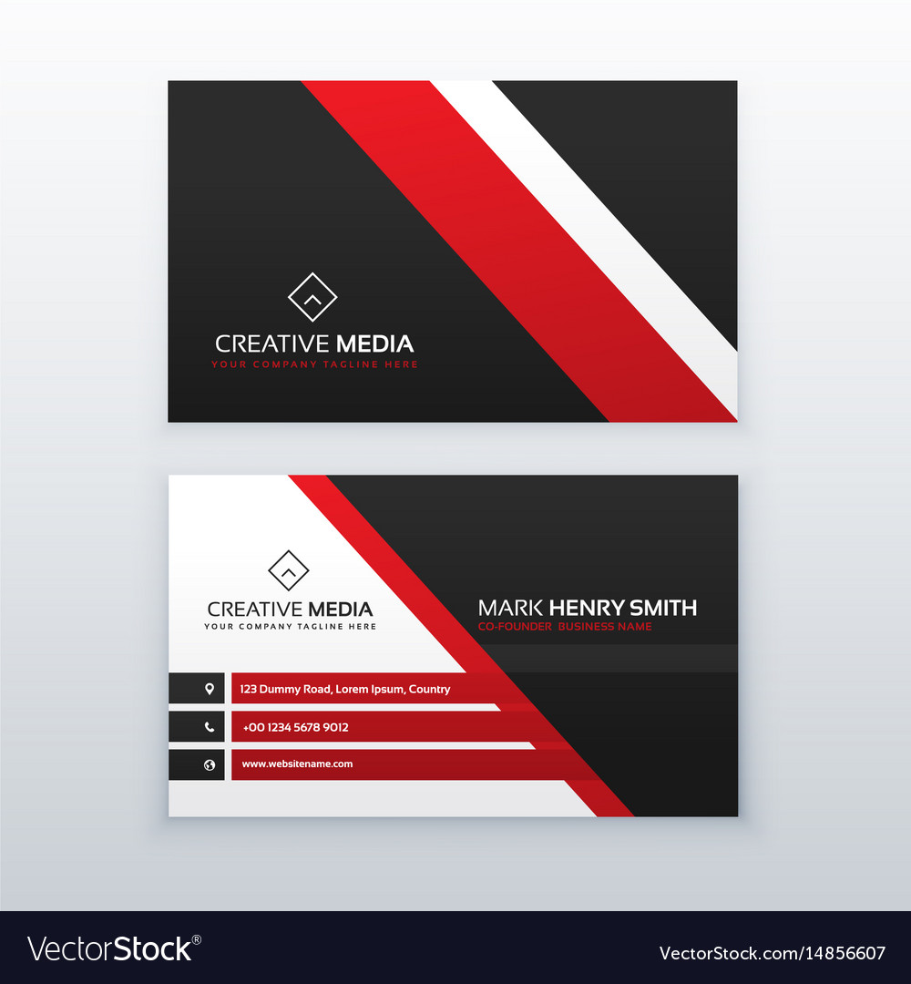 Red and black professional business card for your Vector Image