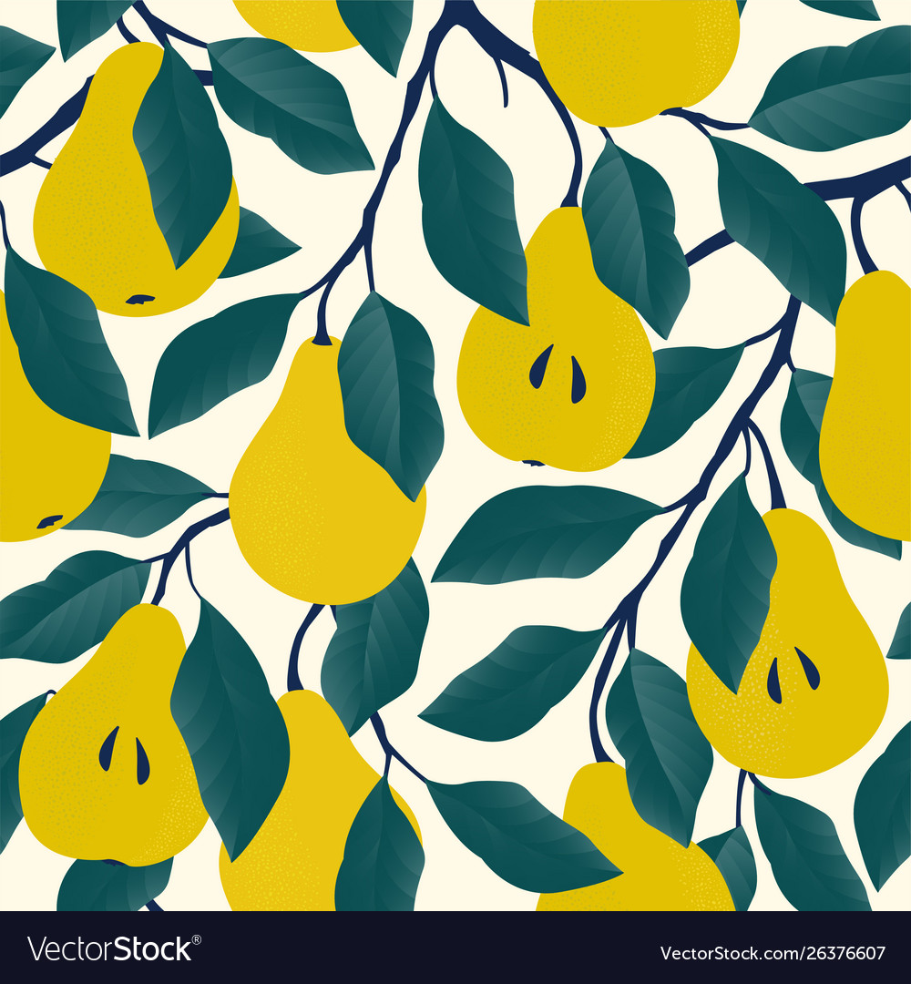 Seamless pattern with yellow pear fruit