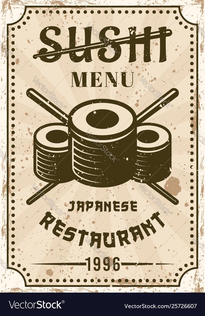 Sushi Restaurant Menu Vintage Poster Royalty Free Vector