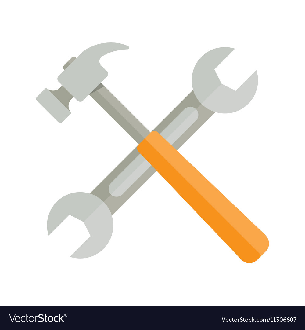 Wrench and hammer on white background
