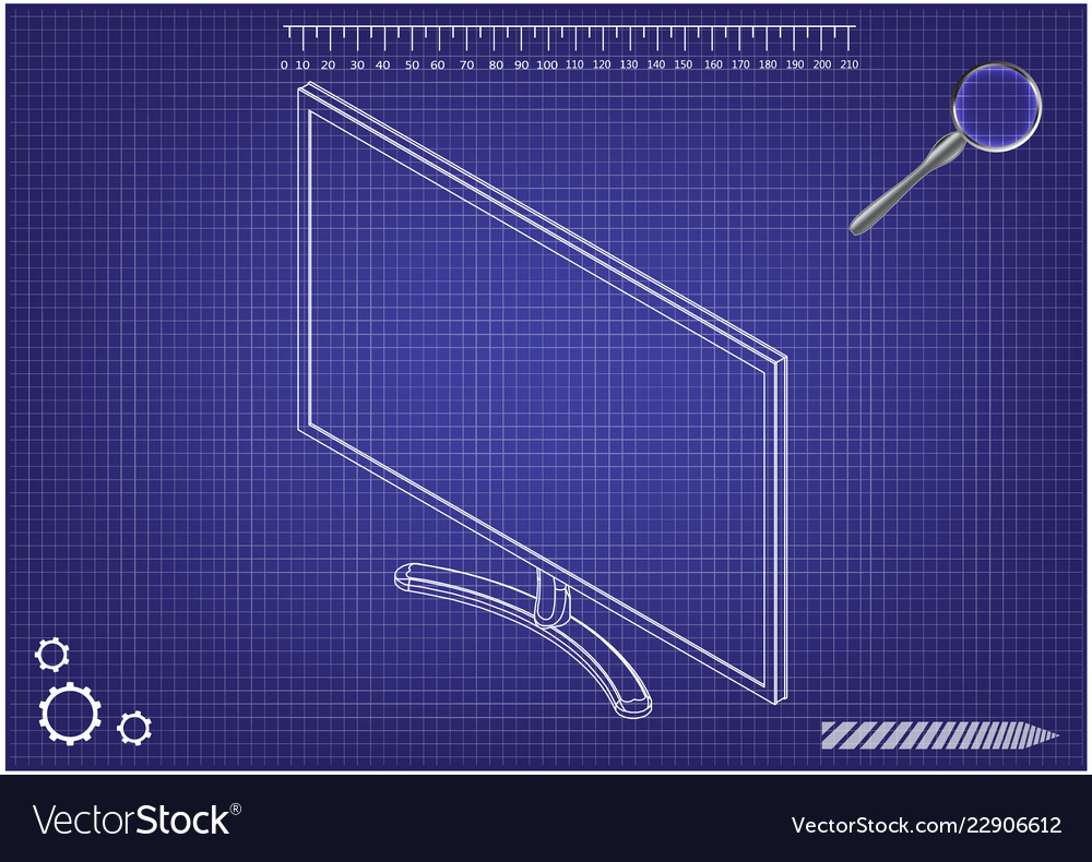 3d model of the monitor on a blue