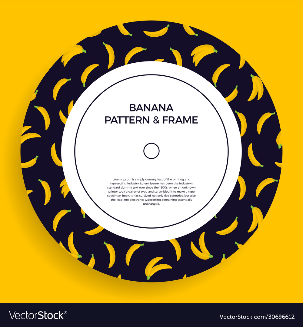 A circle postcard with seamless banana patterns