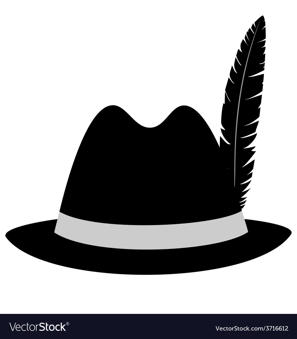 1ccf50410e91c Black hat with feather on white Royalty Free Vector Image