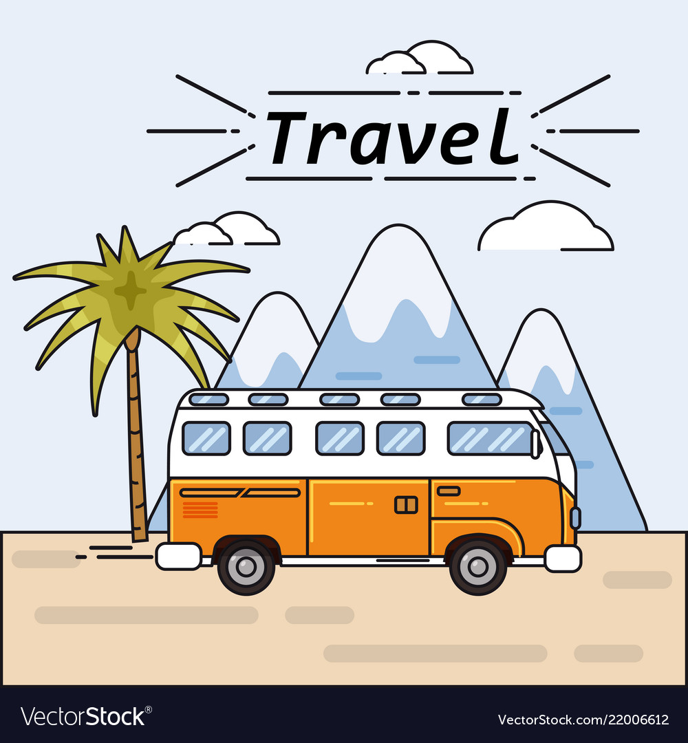 bus summer trip on summer royalty free vector image