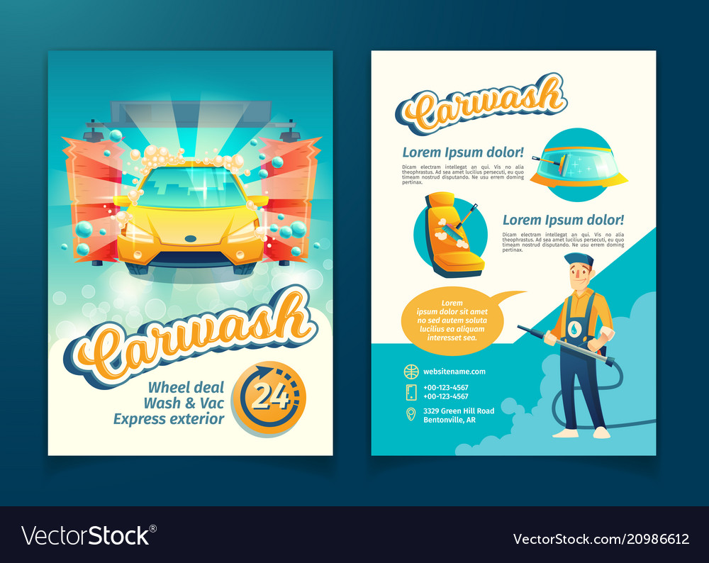 Car washing service flyer ad poster