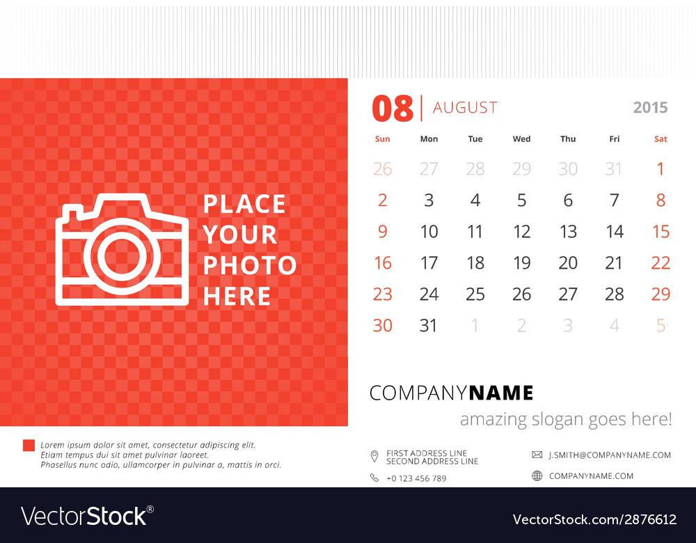 Calendar 2015 Template   Desk Calendar 2015 Template Week Starts Sunday Vector Image