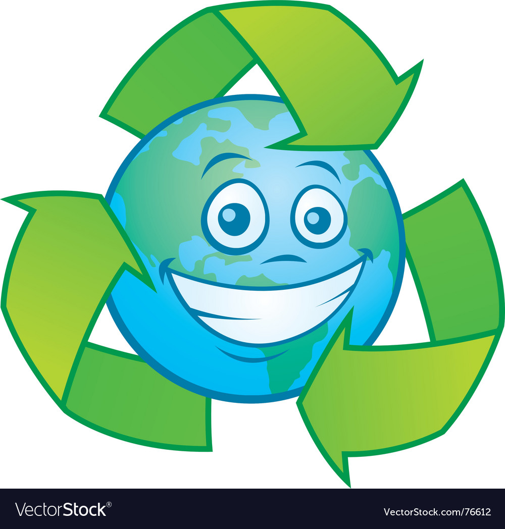 earth cartoon with recycle symbol royalty free vector image
