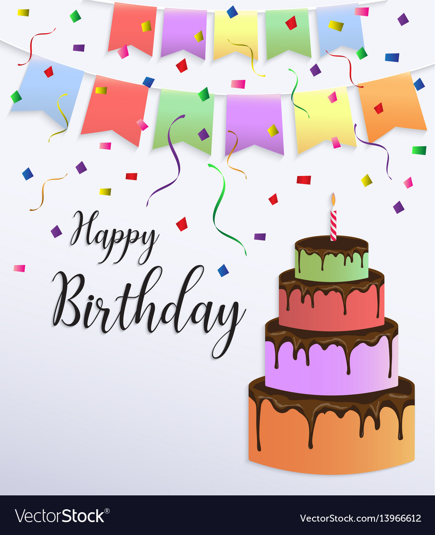 Happy birthday card design with colorful big cake
