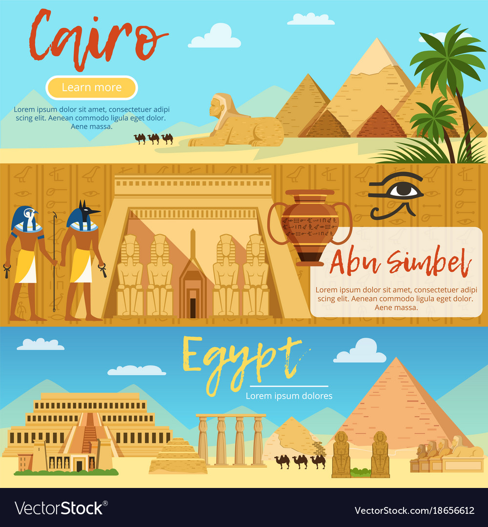 Horizontal banners of egypt landscape