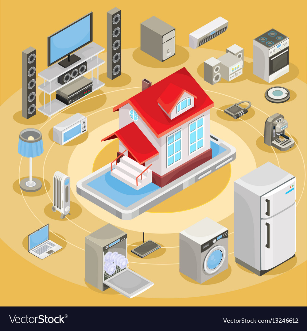 Isometric abstract smart home