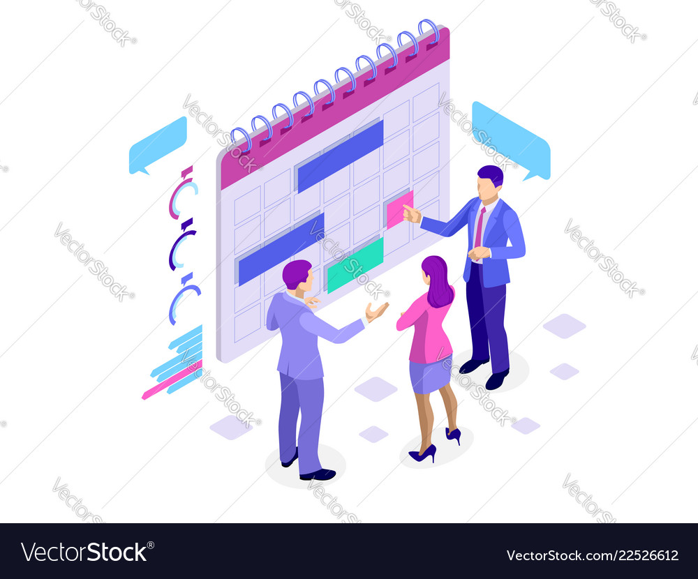 Isometric online business schedule planning