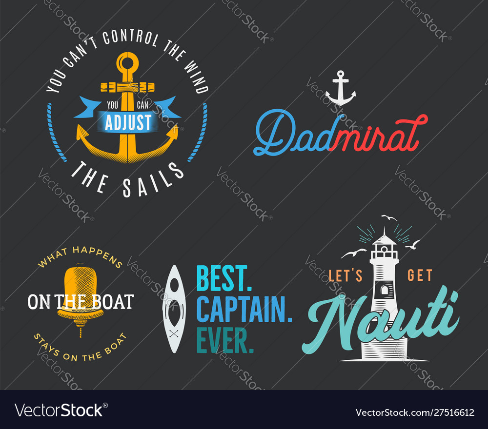 Nautical vintage prints designs set for t-shirt