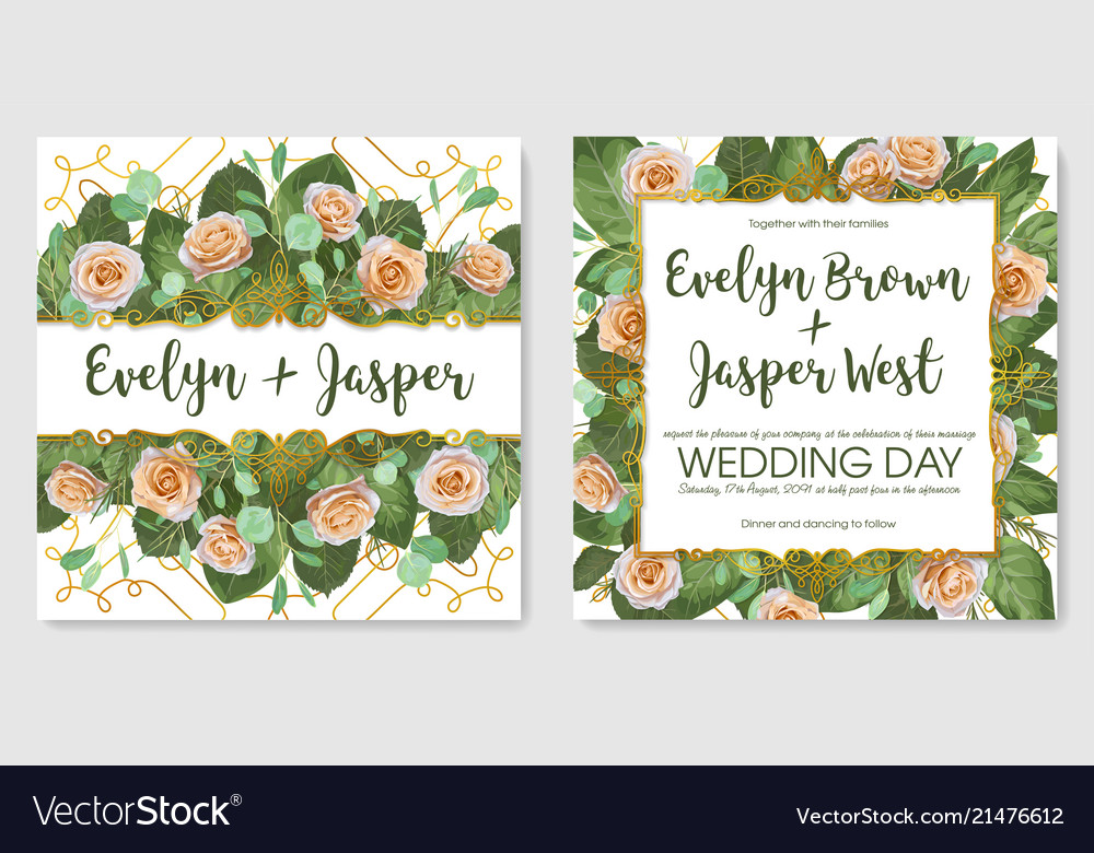 Set beautiful cards banner wedding vector