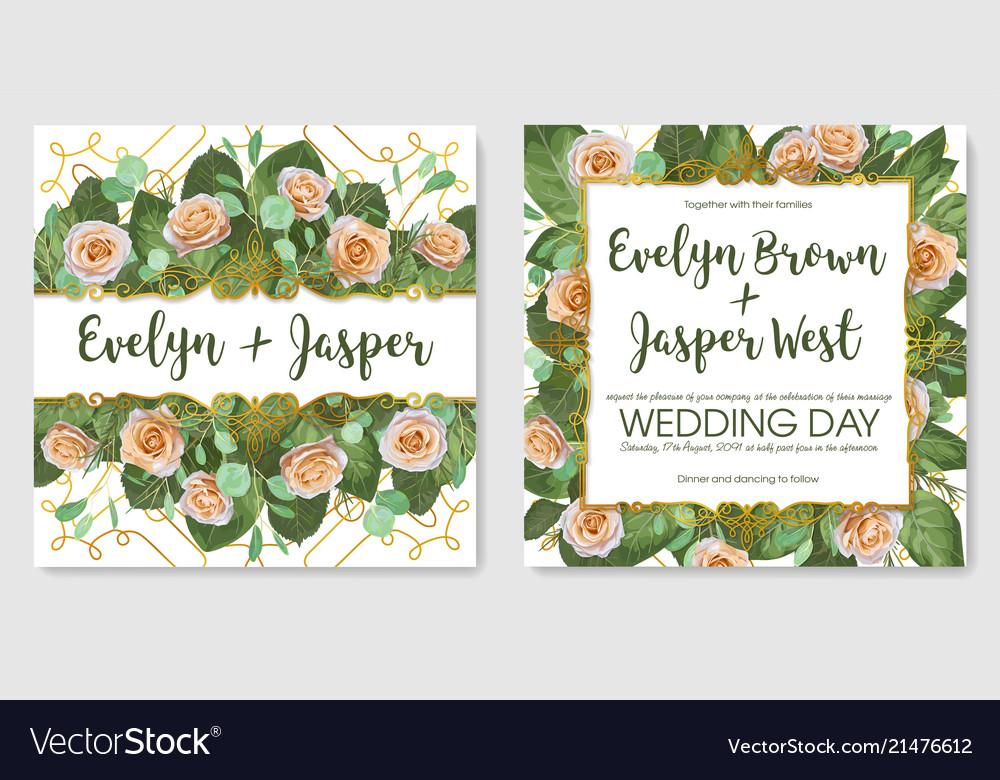 Set Of Beautiful Cards Banner Wedding