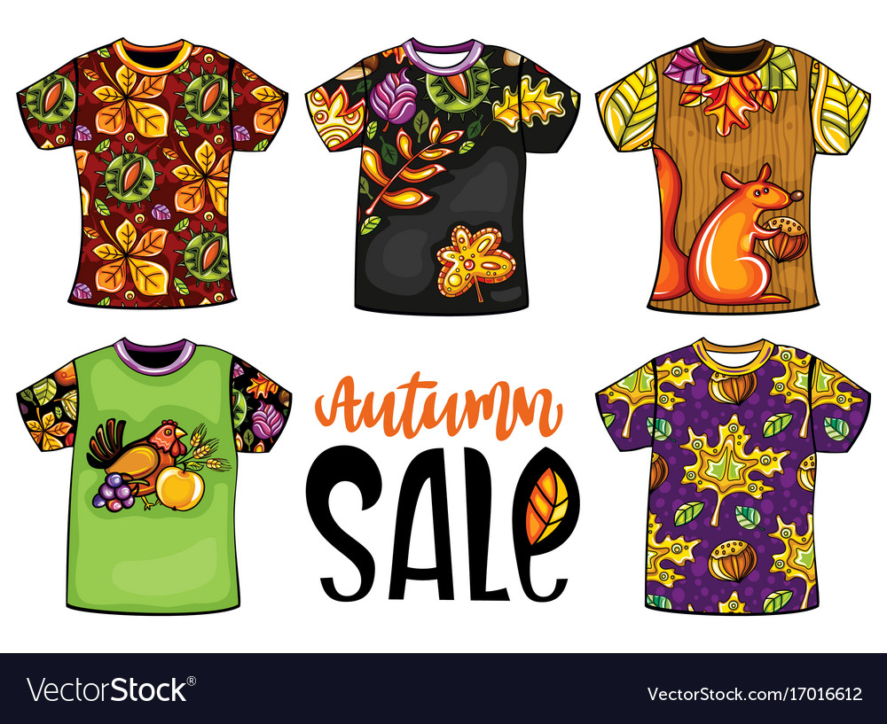 60d7ace2 Set of colorful templates t-shirts Royalty Free Vector Image