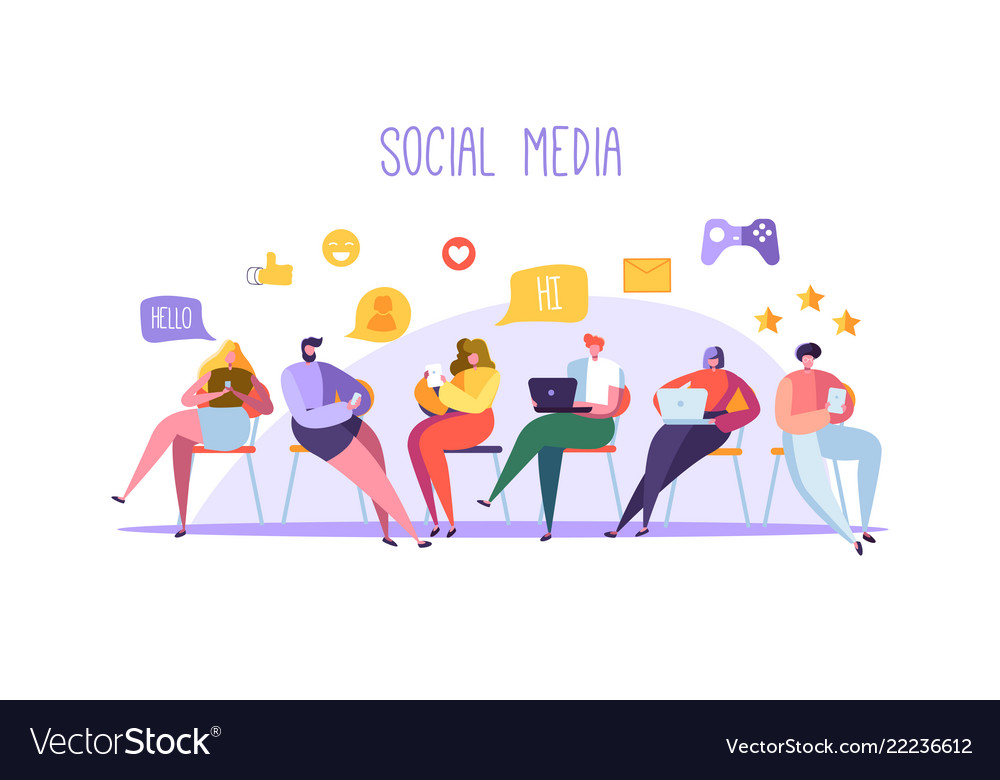 Social media concept with characters with gadgets