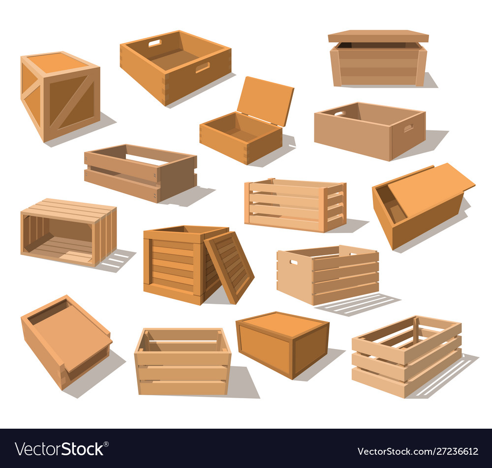 Wooden packages or realistic wood boxes