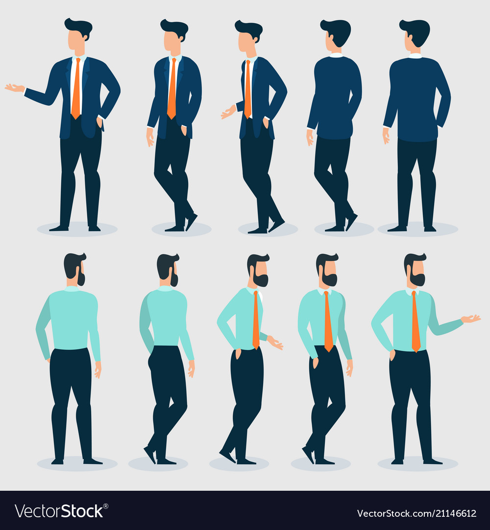 Young businessman character gestures and poses