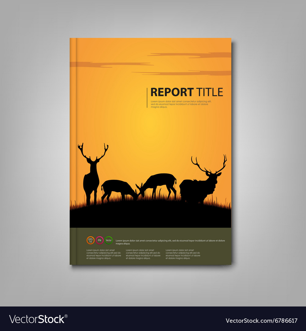 Brochures book or flyer with deer and lane in vector image