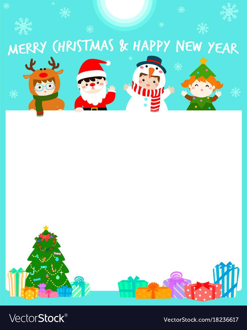 Cartoon of cute kids wearing christmas card Vector Image
