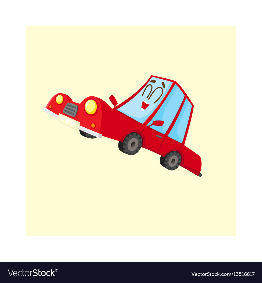 Cute and funny red car auto character happy and