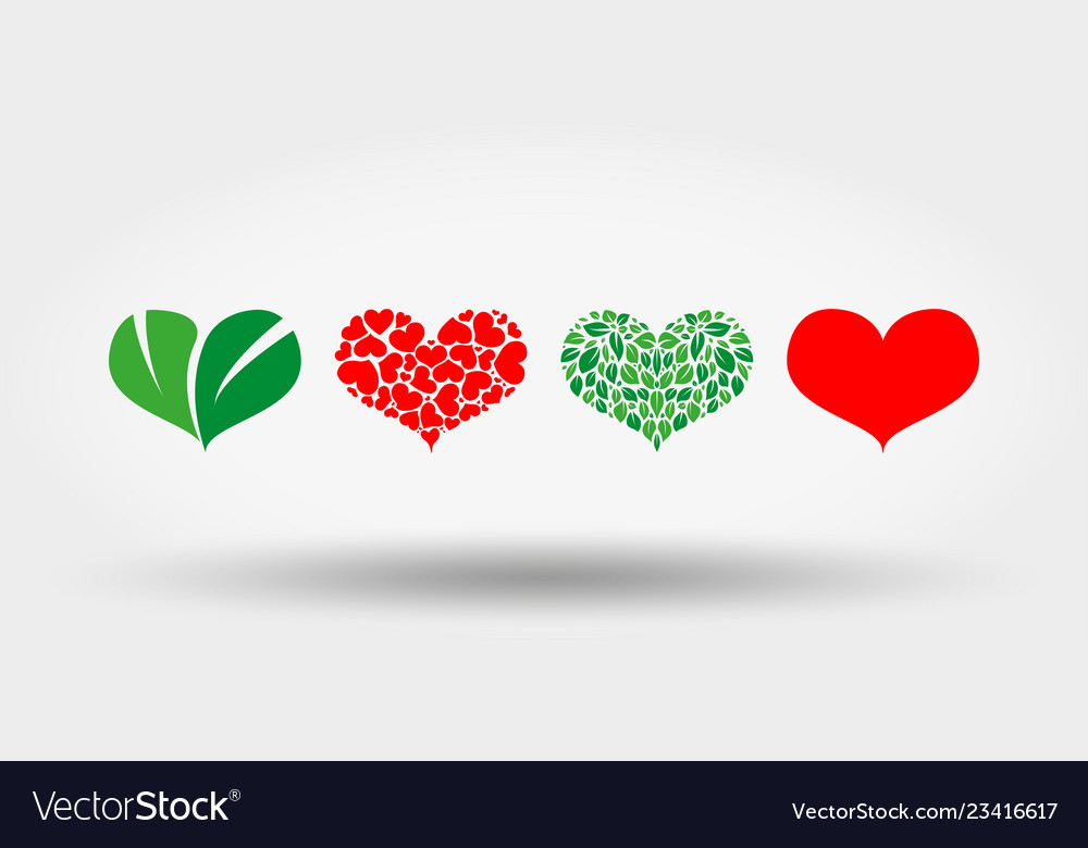 Hearts set icon flat design
