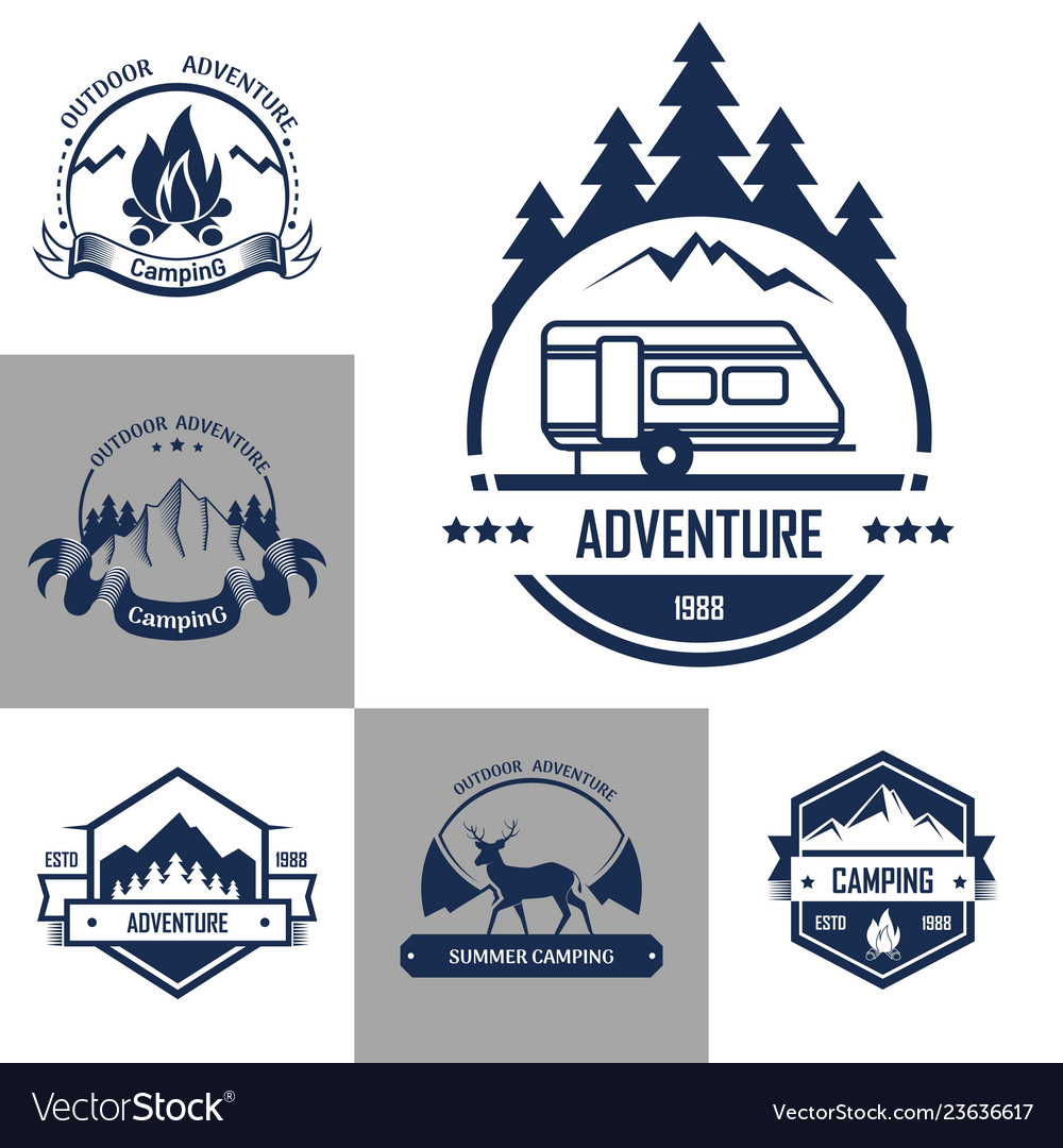 Isolated icons of mountain forest camp