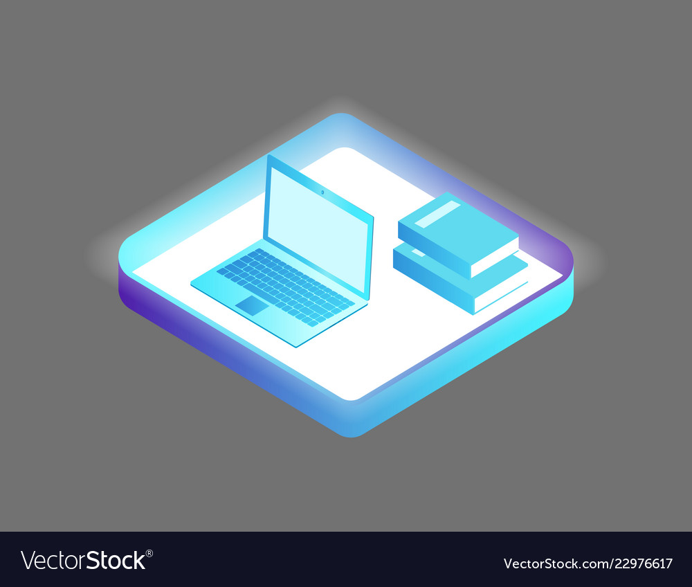 Laptop and books set icons