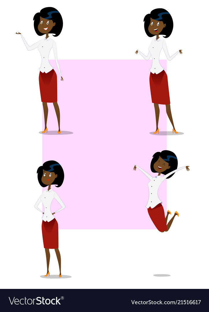 Set of cartoon business woman showing different